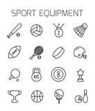 Het sportmateriaal bracht vectorpictogramreeks met elkaar in verband Royalty-vrije Stock Foto's