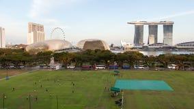 Het sportterrein van Singapore in de tijd-tijdspanne van de binnenstad Filter omhoog stock videobeelden