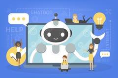 Het spreken aan een chatbot online op laptop royalty-vrije illustratie