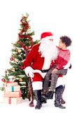 Het spreken aan Santa Claus royalty-vrije stock afbeeldingen