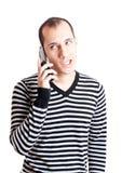 Het spreken op cellphone Stock Foto's
