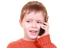 Het spreken op cellphone Stock Foto