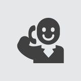 Het spreken op het pictogramillustratie van de telefoonmens royalty-vrije illustratie