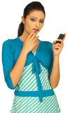 Het spreken op mobiele telefoon Royalty-vrije Stock Foto's