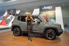 Het spreken over 2015 Jeep Renegade stock foto