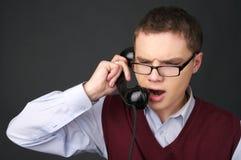 Het spreken van de telefoon Stock Foto's