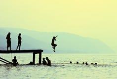 Het springen Stock Foto