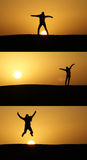 Het springen bij zonsondergang Royalty-vrije Stock Fotografie