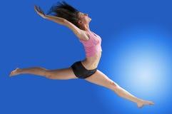 Het springen in blauw Stock Fotografie