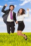 Het springen businessperson Stock Foto's