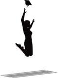 Het springen in de Lucht voor de Graduatie GLB - Zwarte Baret Royalty-vrije Stock Afbeelding