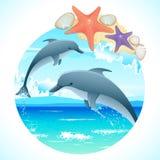 Het springen Dolfijnen royalty-vrije illustratie
