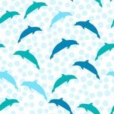 Het springen dolfijnen, vector naadloos de zomerpatroon met overzeese dieren Mariene stijl voor druk Stock Foto