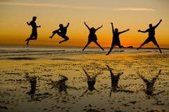 Het springen met Vreugde royalty-vrije stock foto