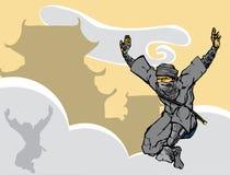 Het springen Ninja Royalty-vrije Stock Foto's