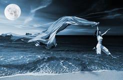 Het springen op het strand stock afbeelding