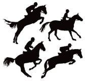 Het springen paarden met jockey Royalty-vrije Stock Afbeeldingen