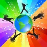 Het springen rond de wereld Royalty-vrije Stock Afbeelding