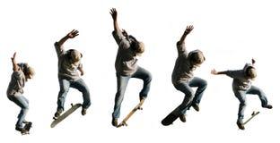 Het springen skateboarder serie Stock Afbeeldingen