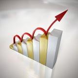 Het Springen van de grafiek â Pijl Royalty-vrije Stock Foto's