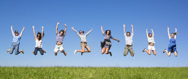 Het springen van de groep Stock Foto