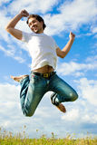 Het springen van de mens Stock Foto's