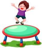 Het springen van de trampoline Stock Foto