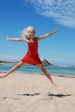 Het Springen van de vrouw Royalty-vrije Stock Foto's
