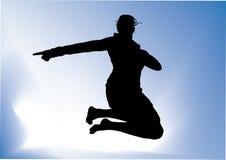 Het springen van de vrouw Stock Afbeeldingen