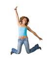 Het Springen van de Vrouw van de pret stock foto's