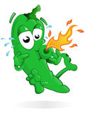 Het springen van Groene paprika met zijn Mond Royalty-vrije Stock Afbeeldingen