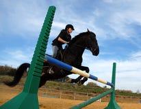 Het springen van hengst en tiener Stock Foto