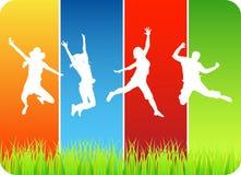 Het springen van mensen Stock Afbeeldingen