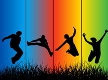 Het springen van mensen stock illustratie
