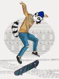 Het springen van ring-De steel verwijderde van maki met een skateboard royalty-vrije illustratie