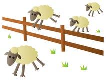 Het Springen van schapen Omheining Stock Foto's