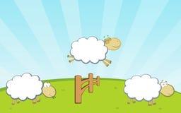 Het springen van schapen omheining Stock Fotografie