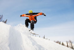 Het springen van Snowboarder royalty-vrije stock afbeeldingen