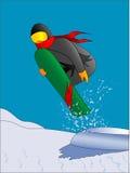 Het springen van Snowboarder Stock Illustratie
