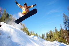 Het springen van Snowboarder Stock Fotografie