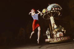 Het springen van Speld op Meisje Stock Afbeelding