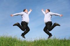 Het springen van vette tweelingen op grascollage Stock Foto