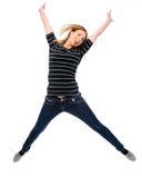 Het springen voor vreugde Stock Foto