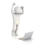 Het springen voor Vreugde bij Laptop Stock Fotografie