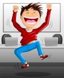 Het springen voor Vreugde in BureauComputerzaal Royalty-vrije Stock Fotografie