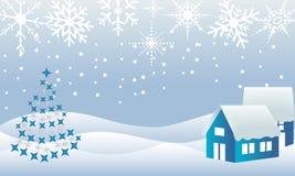 Het sprookjesland van de de stadswinter van Kerstmis Stock Afbeelding