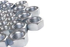 Het staal chromeplated noten royalty-vrije stock foto