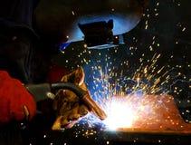 Het staal en de vonken van het lassen Stock Foto