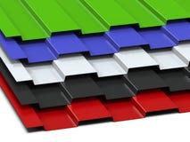 Het staal profileerde multi-colored bladen die in een stapel worden gestapeld Verkoop van staalassortiment het 3d teruggeven royalty-vrije illustratie