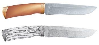Het staal van Damascus de vector van het de jachtmes Stock Afbeeldingen